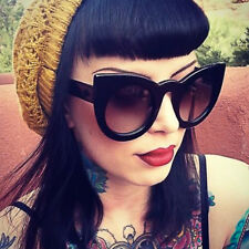 Thick Round Cat Eye Black Brown Tortoise Fashion Blogger Wolves Sunglasses 6020