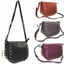 NEW LADIES WOMENS LYDC LONDON SPIKE STUDDED FAUX LEATHER SADDLE SHOULDER HANDBAG