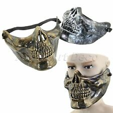 Plastic Human Skull Skeleton Jaw Half Face Mask Halloween Party