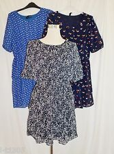 Fun & Flirt Pattern Print Chiffon Overlay Tiered Dress 3/4 Sleeve Size M-XL