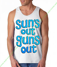 New Blue SUNS OUT GUNS OUT Tank Top rave muscle gym workout bodybuilding movies