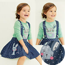 2PC Baby Girls Kids Cute Rabbit Tops+Dot Denim Overalls Dresses Skirts Outfits
