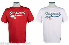 UMBRO Originals Mens Graphic Tee T-Shirt Red White Casual Gym Football Top NEW