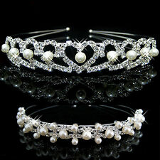 Pearl Crystal Crown Headband Tiara Flower Bridal Wedding Party Girl Hair Jewelry