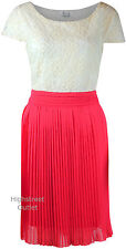 RRP £60 Simply Be Coral Cream Vintage Flippy Party Cocktail Dress Tea Ladies
