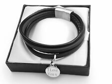 MENS LEATHER WRAP BRACELET WITH ENGRAVED CHARM / PERSONALISED GIFT BOX