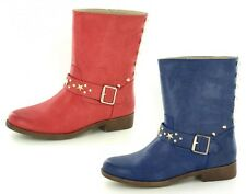 Ladies Down To Earth Biker Style Mid Calf Boots Strap & Stud Detail Style F5843