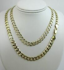 7mm Curb Pave Chain. Vermeil - Gold over Sterling Silver 2 tone 20,22,24,30 Inch