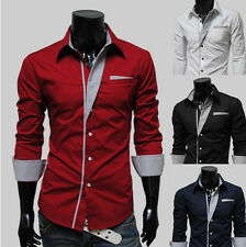 Fashion Mens Luxury Casual Stylish Slim Fit Long Sleeve Casual Dress Shirts