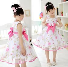 New Kids Children Girls BowKnot Floral Princess Party Dress For 2-13 Years