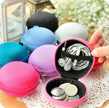 New Unisex Women Round Zipper Coin Purse Wallet Pouch Bag Key Headset Men Gift n