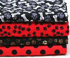 """Free Shipping by the yard dogs foot printed 100% Cotton Plain Fabric 43.3"""""""