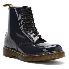 Doc Martens Patent Leather Air Wair Lamper 1460 Navy Blue Boots 8-Eyelet Unisex
