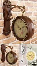 Antique Style Double Sided Interior Wall Clock Double Faced Home Deco Vintage A