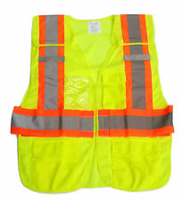 HIGH QUALITY REFLECTIVE SAFETY VEST ANSI 2/ISEA Hi-Visibility Neon Green/ Orange