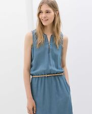 ZARA DENIM ZIP MIDI DRESS WITH BELT  SIZE S/M NWT