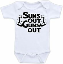 Suns Out Guns Out Cute Baby Onesie Funny Onsie Clothing Cool Shower Gift Unique