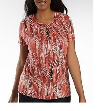 St. John's Bay Ring Neck Top red combo women's Plus size 1X, 2X NEW