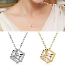 New Ladies Cube Square Crystals Glass Pendant Necklace Charms Spacer Beads Bead