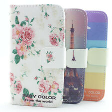 1x fashion baby color leather wallet credit card flip stand case Cover for htc