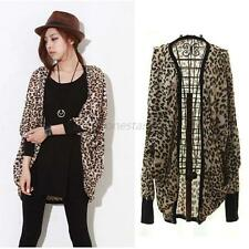 Fashion Women Dolman Bolero Cape Coat Blazer Leopard shirts Blouse Batwing Top