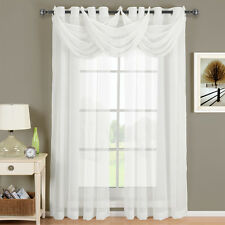 Royal Textiles Abri White Grommet Crushed Sheer Curtain Panel