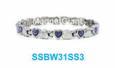 Shiny Silver with Purple Crystals Women magnetic stainless steel Heart bracelet