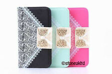 NEW LUXURY LEATHER BOW BOOK FLIP LEATHER WALLET CASE COVER FOR SAMSUNG AND APPLE