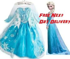 Frozen  Elsa Party Dress  blue  Silver sequin  Costume Party cosplay  UK STOCK