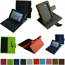 """Rotary Stand Case+Removable USB Keyboard for 7"""" Verizon Ellipsis 7 4g LTE Tablet"""