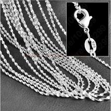"""Wholesale lots 5pcs 925 Sterling Silver 2MM Water Wave Chain Necklace 16""""-30"""""""