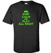 Keep Calm And Play All Night Child T-Shirt Funny Humor Video Game Youth Tee