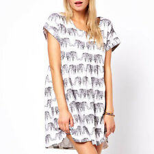 Fashion Women Loose Short Sleeve White Elephant Print T-shirts Blouse Dress Hot
