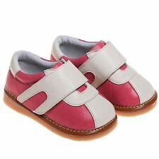 Girls Childrens Toddler Kids Leather Squeaky Shoes - Watermelon Red and Beige