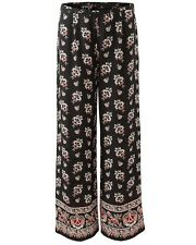 East Womens Casual Amina Silk Print Trouser w/Pattern High-Rise Wide Leg Black