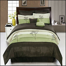Portland Sage and Coffee with Green and beige Luxury 8-Piece Comforter Set