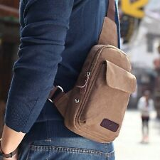 Men's Small Canvas Messenger Shoulder Hiking Casual Crossbody Fanny Bag Rucksack