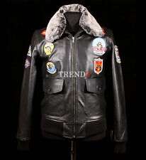 Top Gun Black Men's New A2 Bomber Fur Collar Real Leather Movie Winter Jacket