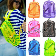 Women Transparent Clear Backpack Plastic Student School Bag Bookbag Practical W