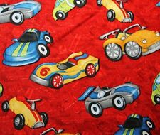 """Free Shipping by the yard red cars printed 100% Cotton Plain Fabric 43.3"""""""