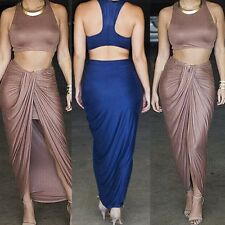 Sexy party dress crop top split bodycon skirt two-piece set celeb fashion outfit