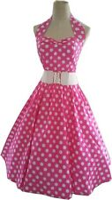 PINK AND WHITE Polka dot 50's Halter Dress pinup Vintage style Rockabilly Swing