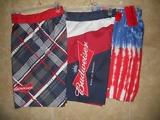 NWT Budweiser Men's 30 32 34 36 38 Swim Trunks Board Shorts Beach Flag Tie Dye