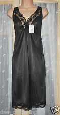 "Black silky nylon full slip, BN, 50"", cd nightie perhaps"