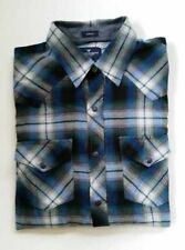 NWT AMERICAN EAGLE MEN'S S  BLUE FLANNEL PLAID WESTERN COWBOY SHIRT PEARL SNAPS