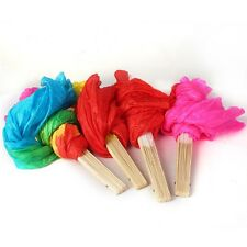 New Hand Made Colorful Belly Dance Dancing Silk Bamboo Long Fans Veils