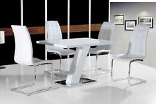 New Stunning Livorno White High Gloss Dining Table & White Chairs