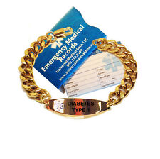 Medical Alert ID Bracelets Engraved -Gold plated with specific medical condition