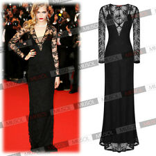 Womens Lace Dress Formal Evening Wedding Long Prom Gown Bodycon Dresses Black