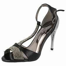 LADIES ANNE MICHELLE BLACK T-BAR SANDALS WITH DIAMANTE DETAIL F10279